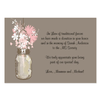 Wildflowers del tarro de albañil de la tarjeta de  tarjetas de visita grandes