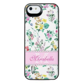 Wildflowers y rosas amarillos rojos púrpuras funda con batería para iPhone SE/5/5s