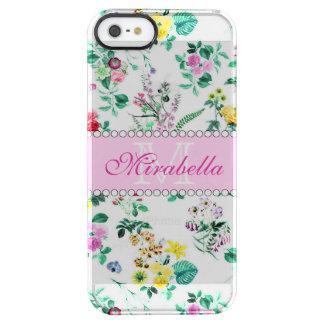 Wildflowers y rosas amarillos rojos púrpuras funda transparente para iPhone SE/5/5s