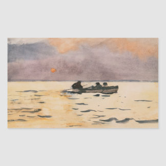 Winslow Homer - hogar del Rowing Pegatina Rectangular