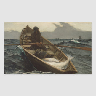 Winslow Homer - la advertencia de la niebla Pegatina Rectangular