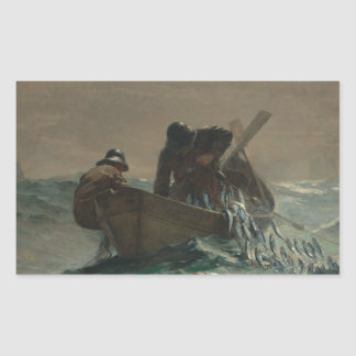 Winslow Homer - la red de los arenques Pegatina Rectangular
