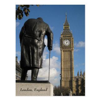 Winston Churchill y postal de Big Ben, Londres