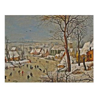 Winterscape en una charca con los pájaros tarjetas postales