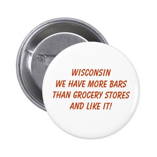 Wisconsin más botón de las barras pins