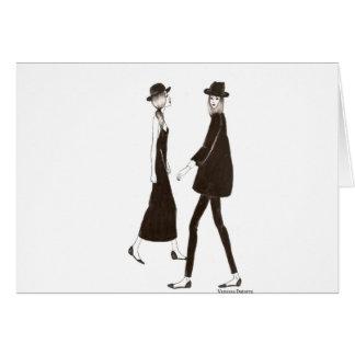 Woman in black tarjeta de felicitación