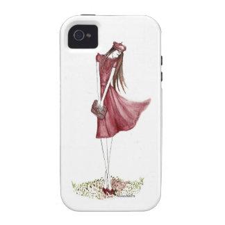 Woman in burgundy Case-Mate iPhone 4 fundas