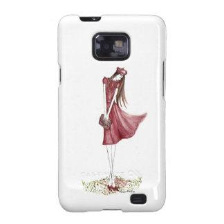 Woman in burgundy galaxy s2 fundas