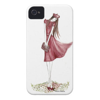 Woman in burgundy iPhone 4 Case-Mate protectores