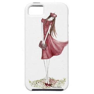 Woman in burgundy iPhone 5 Case-Mate cárcasas