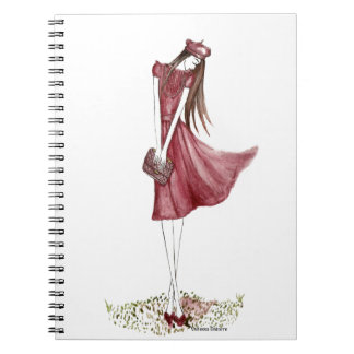 Woman in burgundy note book