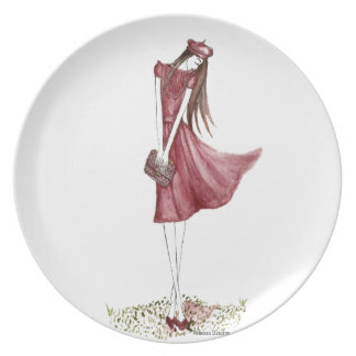 Woman in burgundy platos