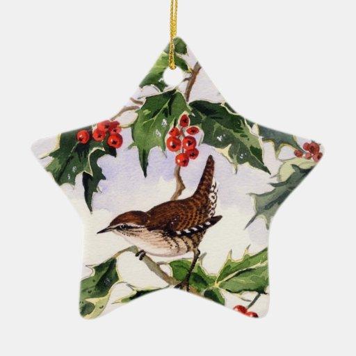 Wren en un acebo Bush Ornamento Para Arbol De Navidad