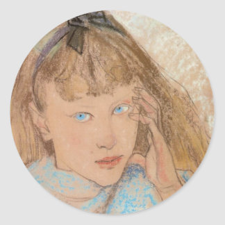 Wyspianski, chica con los ojos azules, 1895 pegatina redonda