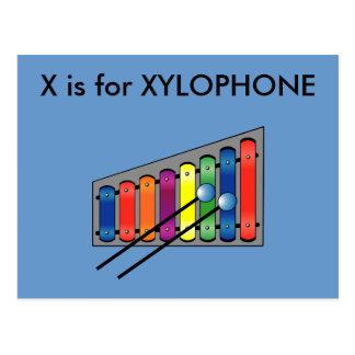"""""""X"""" está para el alfabeto Flashcard del xilófono Tarjeta Postal"""