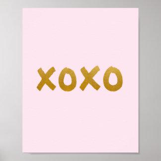 xoxo - impresión del arte - rosa - oro -