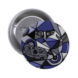 XX ballenas del arte abstracto Chapa Redonda 5 Cm