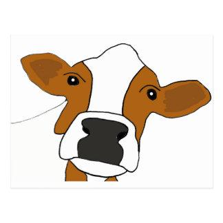 XX cara divertida de la vaca Postal