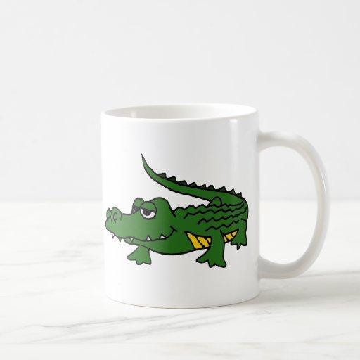 XX dibujo animado divertido del cocodrilo Tazas