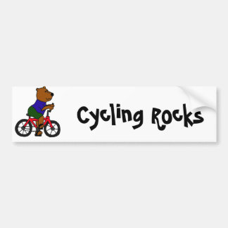 XX dibujo animado que monta en bicicleta del oso Etiqueta De Parachoque