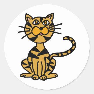 XX dibujo animado rayado del gato Pegatina Redonda