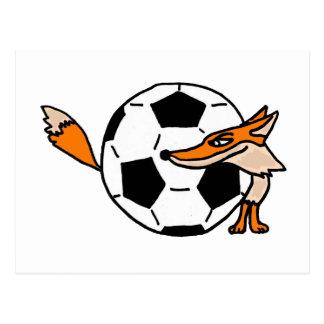 XX Fox detrás de un arte del balón de fútbol Postal