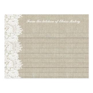 Y blanco tarjetas personalizadas cordón de lino de