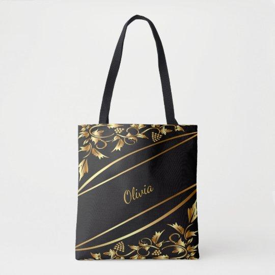 Y elegante la decoración clásica coloreada oro bolsa de tela