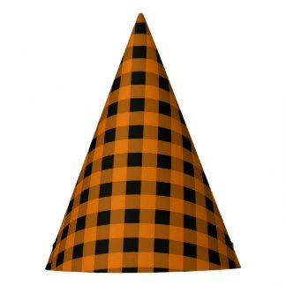 Y negra modelo comprobado guinga anaranjada gorro de fiesta