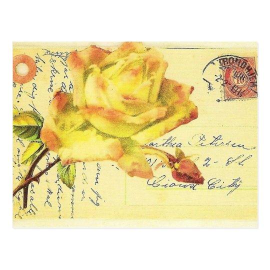 Y rosado postal sellada rosa amarillo