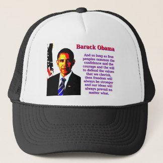 Y siempre y cuando gente libre - Barack Obama Gorra De Camionero