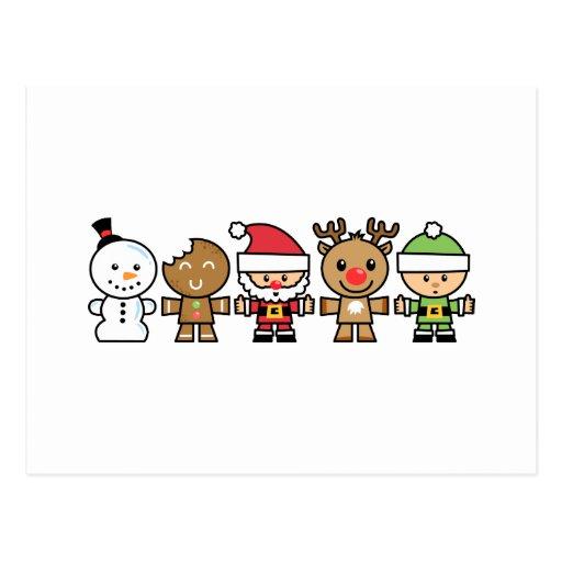 Yay para los caracteres de navidad del color cinco postal - Dibujos en color de navidad ...