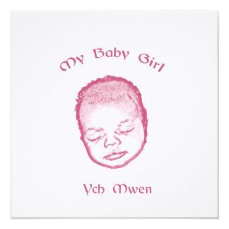 Ych mwen my baby girl invitación 13,3 cm x 13,3cm