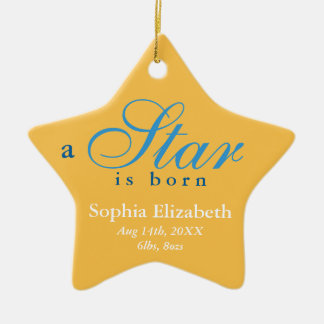 Yellow blue a star is born baby name announcement christmas ornaments
