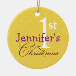 Yellow polka dots purple name baby first holiday ornament
