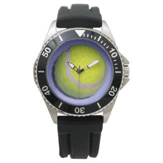 Yellow_Tennis_Ball_Mens_Black_Rubber_Strap_Watch Reloj De Pulsera
