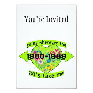 Yendo a dondequiera que los años 80 me tomen invitación 12,7 x 17,8 cm
