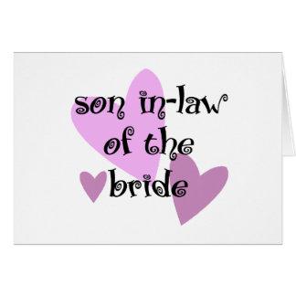 Yerno de la novia tarjeta de felicitación