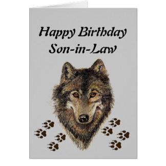 Yerno del cumpleaños, lobo, lobos, animal, tarjeta