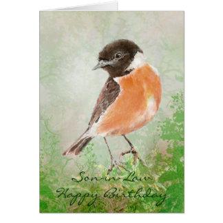 Yerno del feliz cumpleaños del pájaro de Stonechat Tarjetón