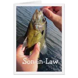 Yerno del humor de la pesca a modificar para tarjeta de felicitación