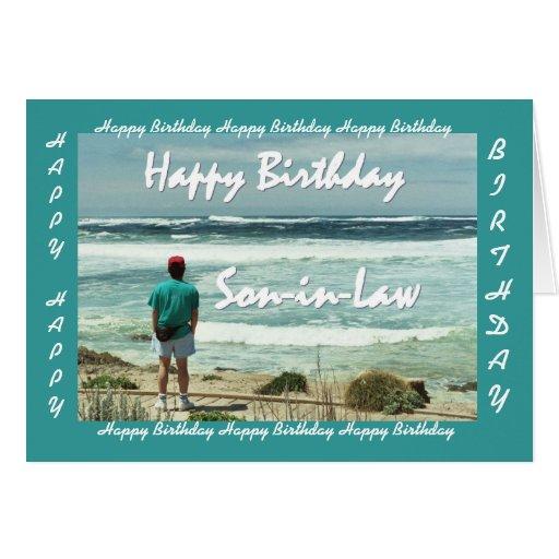 YERNO - feliz cumpleaños - hombre y olas oceánicas Felicitaciones