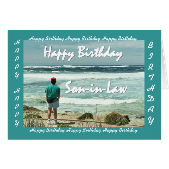 YERNO - feliz cumpleaños - hombre y olas oceánicas Tarjeta De Felicitación