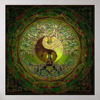 Yin verde Yang con el árbol de la vida Póster