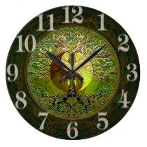 Yin verde Yang con el árbol de la vida Reloj Redondo Grande