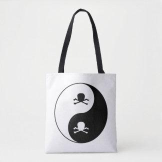 Yin y cráneos de yang bolsa de tela