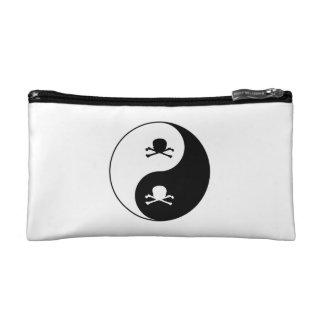Yin y cráneos de yang bolso de maquillaje