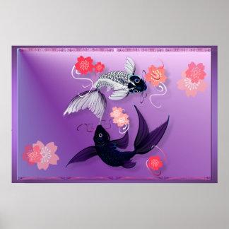 Yin y Yang Koi y posters de las flores de cerezo