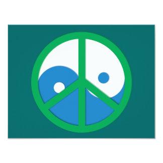 Yin-Yang con el signo de la paz Invitación 10,8 X 13,9 Cm