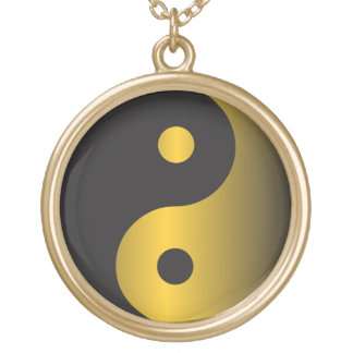 Yin-Yang de oro Colgante Redondo